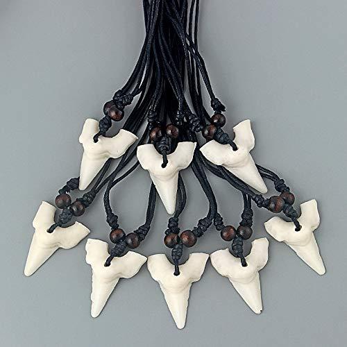 12pcs Imitation Yak Bone White Shark Teeth Shape Amulet Pendant Wax Cotton Cord Wood Beads Necklace DIY Fashion Jewelry