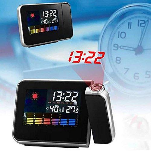 YSTD® New LCD Digital LED Projection Alarm Clock Projector Weather Station Calendar