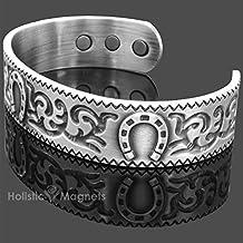 "Mens Antique Silver Toned Copper Bracelet Healing Magnetic Bracelet Arthritis Bracelet Health Bangle Magnetic Therapy - Lucky Horseshoe Bracelet – HSP (M: Wrist 16-19.5cm/6""-7.5"")"