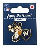 MLB Milwaukee Brewers Disney Pin - Mickey Leaning on Home Base