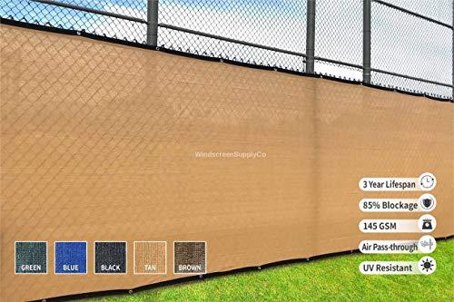 (Heavy Duty 6 ft. X 50 ft. Privacy Windscreen Fence Screen Mesh Tarps W/Binding and Grommets (1, Tan))