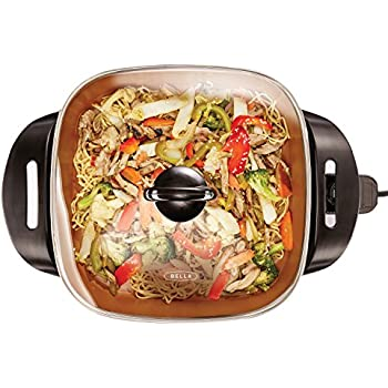 BELLA 12 x 12 inch Electric Skillet with Copper Titanium Coating, 1200 Watts  14607