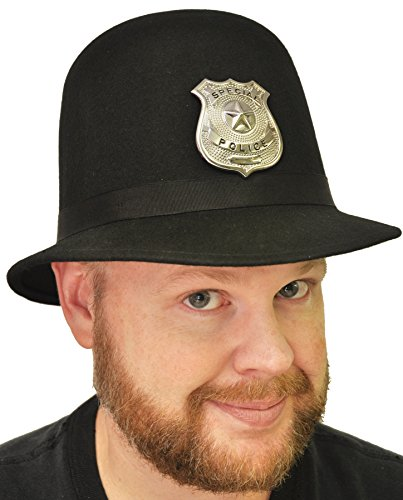 UHC Adult Men's Keystone Cop Hat w/ Vinyl Headband Halloween Costume Accessory, M]()