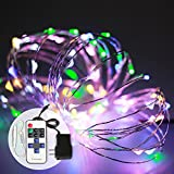 (Multi-Color) LED String Lights 8 Modes 33Ft 100LED Home Décor Silver Wire Fairy Starry Light String for Outdoor - Indoor - House - Bedroom - Party Decoration (Include Remote and Power Supply)