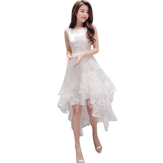 Vestido de Novia para Boda Blanco sin Mangas POLP Chaleco Largo Vestido Encaje Mujer Bodycon Dress Cintura Vestido de Fiesta Talla Grande Vestido de ...