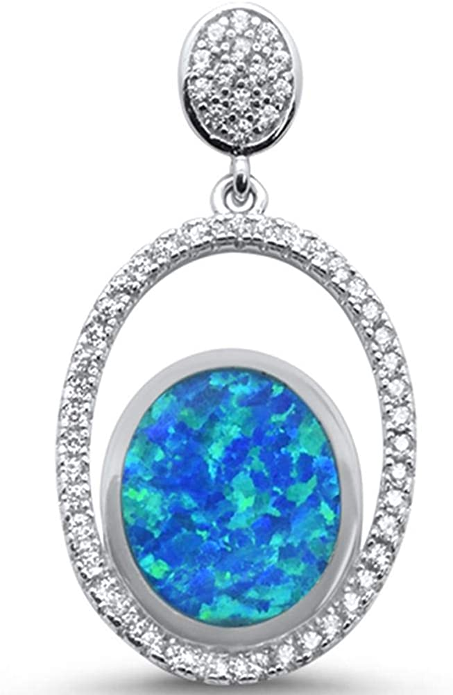 CloseoutWarehouse Blue Simulated Opal Cubic Zirconia Double Oval Drop Pendant Sterling Silver