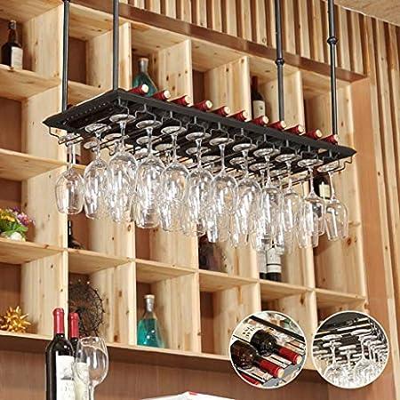 ZYLZL Estante para Vino, Bar, Restaurante, Colgante, Estante para Copas de Vino, Soporte para Copas de Vino en el Techo, Metal, Hierro, para el Hogar, para Vasos, para Vasos, Colgador para Copas de V