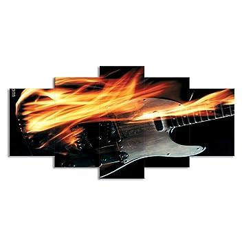 ChuangYing 5 Piezas de la Guitarra eléctrica Llama Abstracto Etiqueta de la Pared-me Arte