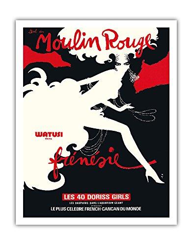 Bal du Moulin Rouge - Paris, France - Watusi Dans Frénésie (in Frenzy) - Les 40 Doriss Girls - Moulin Rouge Cabaret - Vintage Theater Poster by René Gruau c.1970 - Fine Art Print - 11in x 14in