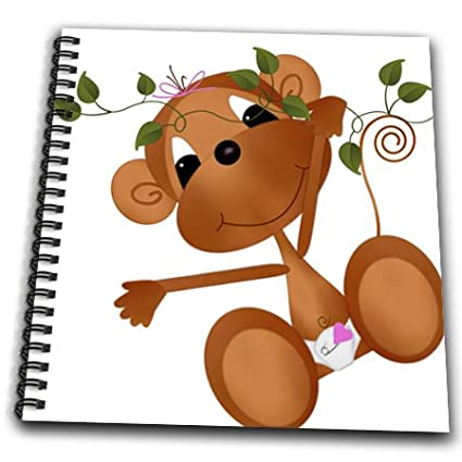 3dRose db/_35897/_1 Baby Monkey Swinging-Drawing Book 8 by 8-Inch