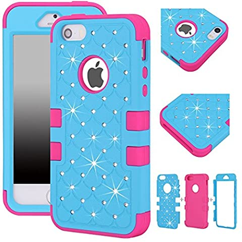 Majesticase® iPhone 5/5S Case - 3 Layers Diamante Bling Crystals Full Body Hybrid Armor Protection Cover + FREE Stylus in Blue/Hot (I Phone 5s Case In Pink)