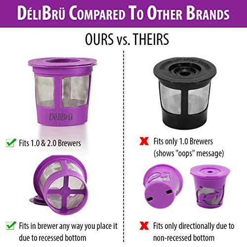 Reusable K Cups for Keurig 2.0 & 1.0 4PACK Coffee Makers. Universal Refillable KCups, Keurig filter, Reusable kcup, k cup k-cups reusable filter by Delibru (Best Reusable Coffee Filter)