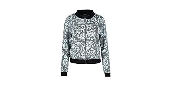 Oops Outlet Womens Bomber Jacket Floral Leaf Collar Long Sleeve Zip Biker Coat