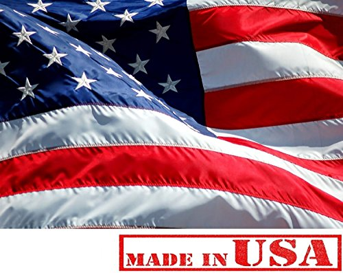 4x6 FT U.S. American Flag (Embroidered Stars, Sewn Stripes) Outdoor SolarMax Nylon, Resistant to UV Fading - Premium Quality - Made in America (4 by 6 Foot)