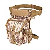ZCON Men's Military Camouflage Drop Leg Bag Panel Utility Waist Belt Pouch Pack - Desert Digital