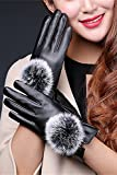 Generic Leather_ glove gloves _Ladies_ women girls winter _riding_electric_plus_velvet_thick_couple_ lovely _warm_ winter _touchscreen_cotton_ glove gloves