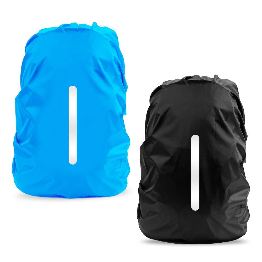 LAMA Rucksack Regenschutz 2 Stück Wasserdichte Regenhülle Schulranzen mit Reflexstreifen Verstellschnalle S (25L-29L) M (30L-40L) L (45L-55L)