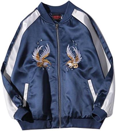 メンズ ブルゾン コート 刺繍 カジュアル 男女兼用 アウター サテン 軽量 防風 秋冬 ペアルック 全6タイプ