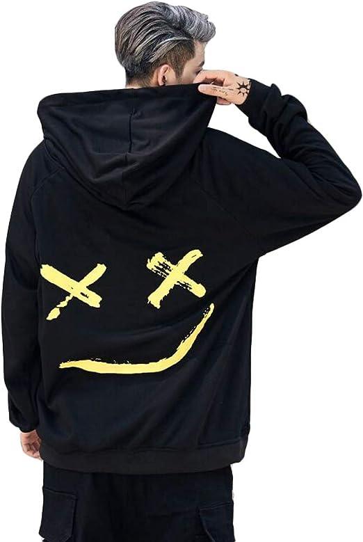 Mens Boys Fashion Hooded Jerseys Long Sleeve Contrast Color Smile Hip Hop Sweatshirt Hoodies