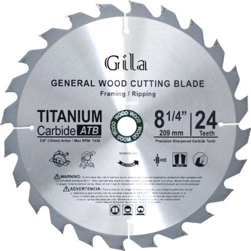 (GilaTools 8-1/4-Inch 24 Teeth ATB Framing Carbide Saw Blade)