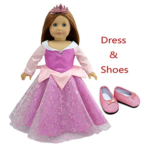 (Christmas Doll Clothes Sleeping Beauty Party Dress+Tiara Hairpin for 18 Inch American Girl Dolls and Alike)