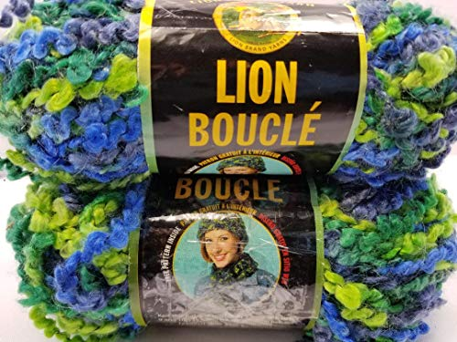 Lion Boucle Yarn 2 Pk - Lime Blue- Bulk #6 Yarn - 2.5 oz/57 yds Each