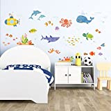 kids wall decals sharks - Decowall DAT-1611 Sea Adventure Kids Wall Decals Wall Stickers Peel and Stick Removable Wall Stickers for Kids Nursery Bedroom Living Room