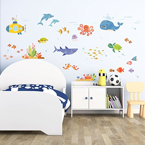 Decowall DAT-1611 Sea Adventure Kids Wall Decals Wall Stickers Peel and Stick Removable Wall Stickers for Kids Nursery Bedroom Living Room