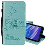 EnjoyCase Wallet Case for Huawei Y5 2018,Cut Funny Embossed Flower Owl Premium PU Leather Wrist Strap Magnetic Closure Bookstyle Protective Flip Cover for Huawei Y5 2018