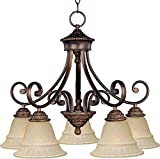 Maxim 11176EVOI Brighton 5-Light Chandelier, Oil Rubbed Bronze Finish, Embossed Vanilla Glass, MB Incandescent Incandescent Bulb , 60W Max., Damp Safety Rating, Standard Dimmable, Opal Glass Shade Material, 3450 Rated Lumens Review