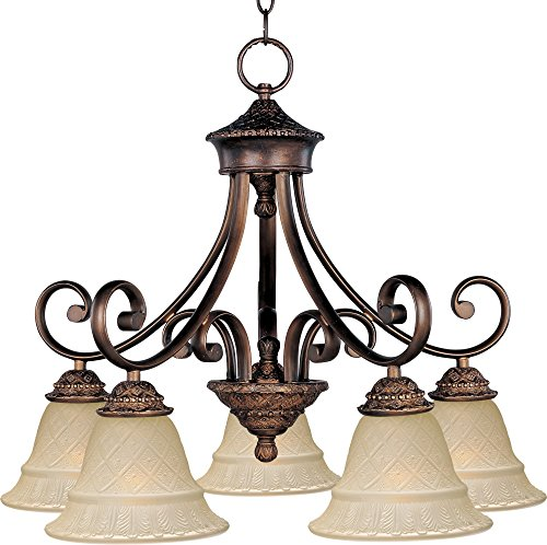 Maxim 11176EVOI Brighton 5-Light Chandelier, Oil Rubbed Bronze Finish, Embossed Vanilla Glass, MB Incandescent Incandescent Bulb , 60W Max., Damp Safety Rating, Standard Dimmable, Opal Glass Shade Material, 3450 Rated Lumens