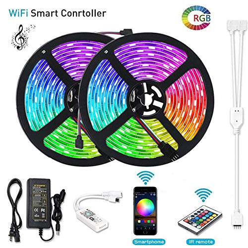 (Litake LED Strip Lights, WiFi Wireless Smart Phone APP Controlled Light Strip Kit 32.8ft 300 LEDs 5050 Waterproof IP65 LED Lights, Working with Android/iOS System, Alexa)