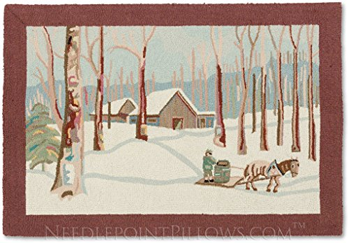 Handmade Limited Edition 100% Wool Decorative Winter Country Cabin Vermont Lodge Currier & Ives Scenic Farm Winter Forest Hooked Area Christmas Rug. 3' x 4' 5