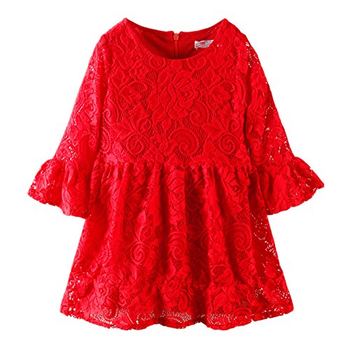 LittleSpring Little Girls' Dresses Cute,3-4T/Height 38-42 inch,Red(110) (Cute Halloween Dress)
