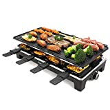 Techwood Raclette Grill Raclette Party Grill Electric Grill Indoor/Outdoor Grill BBQ Grill 1500W Removable Non-Stick Grill Plate Smokeless Venting System Temperature Control Easy To Clean