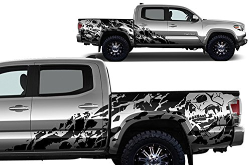 (Factory Crafts Nightmare Side Graphics Kit 3M Vinyl Decal Wrap Compatible with Toyota Tacoma 4 Door Short Bed 2016-2017 - Matte Black)