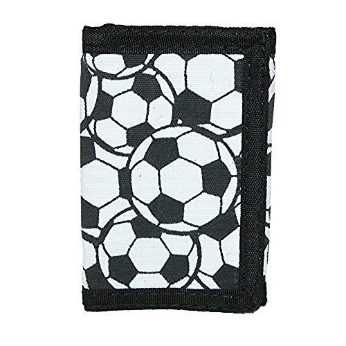 CTM Kid's Soccer Ball Print Trifold Wallet, White (Ball Soccer Print)