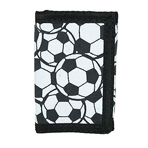 CTM Kid's Soccer Ball Print Trifold Wallet, White (Soccer Ball Print)