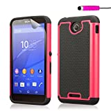32nd Shockproof Defender Heavy Duty Tough Shell Case Cover for Sony Xperia E4 (3G), including screen protector, cleaning cloth and touch stylus - Hot Pink