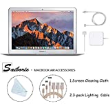 Apple 13.3 MacBook Air (2017) Laptop, Intel Core i5 (Up To 2.9GHz), 8GB RAM, 256GB SSD, w/Saiborie 39 Value Black Cover, 3-Pack Lightning Cables(3,6,10 Feet), Screen Cleaning Cloth