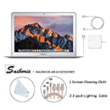 Apple 13.3' MacBook Air (2017) Laptop, Intel Core i5 (Up to 2.9GHz), 8GB RAM, 128GB SSD w/Saiborie 3-Pack Lightning Cables, Screen Cleaning Cloth | Choose Your SSD and Accessories