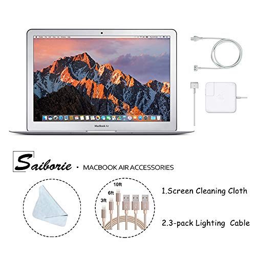 "Apple 13.3"" MacBook Air (2017) Laptop, Intel Core i5 (Up to 2.9GHz), 8GB RAM, 128GB SSD w/Saiborie 3-Pack Lightning Cables, Screen Cleaning Cloth 