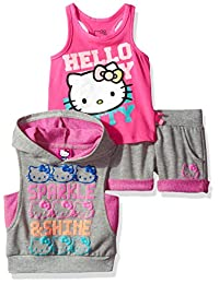 Hello Kitty girls 3 Piece Sleevless Hooded Short Set With Reverse French Terry