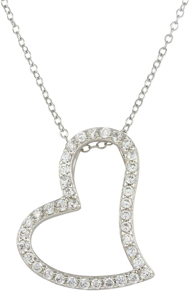 Sterling Silver Rhodium-plated Graduated CZ Heart Pendant