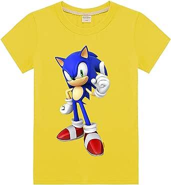 Silver Basic Camiseta de Sonic The Hedgehog para Niños y Niñas Unisex Tamaño de Niño Sonic Ropa para Niños Sonic Cosplay Disfraz para Niños Camiseta de Sonic