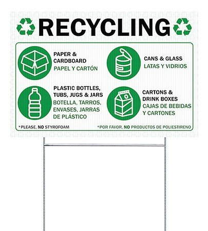 CGSignLab |Recycling -Bilingual Double-Sided Corrugated Plastic Yard Sign with Wire H-