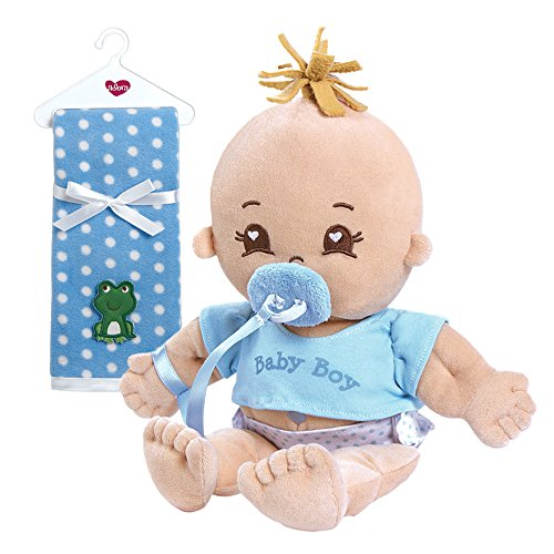Adora My First Baby Boy Soft Plush Cuddly Play Doll with Polka Dot Fleece Blanket Bundle, 14