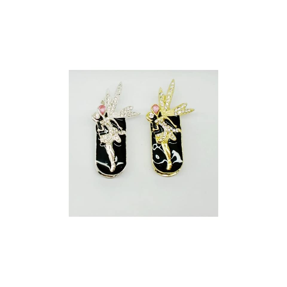 8GB Golden Colored Crystal Fairy Design USB Flash Drive with Necklace