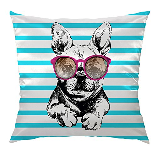 Moslion Dog Pillow Home Decorative Throw Pillow Cover Dog Wear Purple Sunglasses Pattern Satin Square Cushion Cover Standard Pillow Cases for Women Girls Kid Sofa Bedroom Livingroom 18