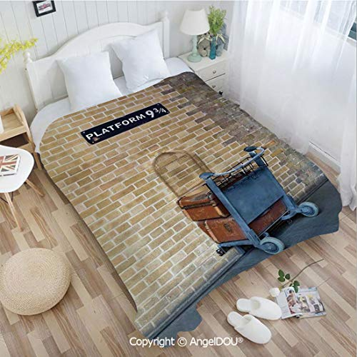 AngelDOU Warm air Conditioner Flannel Blanket W59 xL78 Secret Way to The Train to Magical World Kings Cross Station Famous Landmark Picture for Bed Cover Sofa car use.